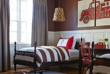 Boys Bedroom Inspiration / Mint, Navy, Grey and some red Firetrucks, transportation Really cool bedrooms
