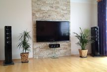 tv wall with vases