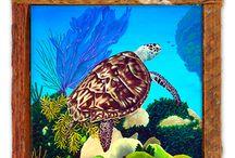 """Ceramic Tiles / Dye sublimation printing on ceramic tiles. Framed in our """"Original"""" lobster trap wood frames."""