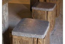 Scaune lemne și granit