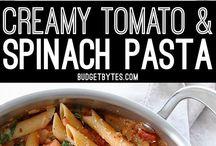 cream tomato spinat saus pasta