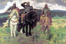 heroes - Богатыри / Богатыри — персонажи былин и сказаний, отличающиеся большой силой и совершающие подвиги религиозного или патриотического характера. В исторических записях и летописях сохранились указания на то, что некоторые события, перешедшие в былины, действительно имели место. Богатыри стояли на страже Руси, на заставе.