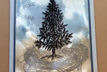 Christmas Tree Single / Artwork made with the Art Journey Rubberstamp Christmas Tree Single