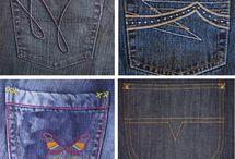 Jeans details: Back pocket design, bar tacks, rivets, buttons
