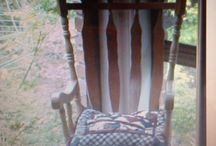 My creations / An up-cycled rocking chair from a varnished pine one to a spray painted one in duck egg blue