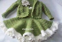 -WIRES , crochet hook / moje prace na drutach i szydełku stroje dla lalek i dzieci