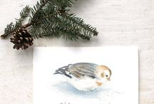 Christmas Cards / Holiday cards featuring the watercolor art of Kathleen Maunder -  https://www.trowelandpaintbrush.com/collections/holiday-cards