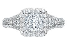 Princess Bride / This glamorous collection of princess-cut engagement rings, featuring prominent center stones, are crafted with precision and encircled with diamonds all-around. Can she resist?