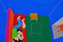 El mundo de Inma Sáenz - pintura / Sus pinturas son una mezcla magistral entre sus temáticas ligeras, apacibles y sosegadas contrastando con una composición sorprendente y un uso del color atrevido y contundente.