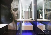 Black Bathrooms / Monochrome bathroom designs that are stylish, quirky and glamorous.