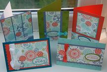 Cards using homemade backgrounds / Ideas on how to make cards with papers made at home using stamps, paint, Gelli pad etc