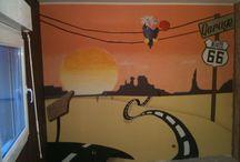 chambre garcon route 66 / peinture decorative murale a l acrylique
