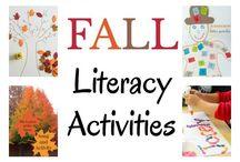 Fall literacy bins
