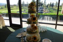 Wedding Cakes and Cupcakes / Wedding cake table  with a beautiful view or our waterfall and 18th hole at Rancho Vista Golf Club, Palmdale Ca.