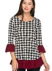 Houndstooth Tunic Top available in Small-3XL.