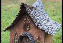 fairy house cardboard shingles-diy