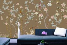 Tapisserie florale style asiatique
