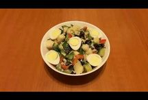 Healthy salad. Salată cu ouă de prepeliță. Салат с перепелиными яйцами. / Ingredients: 8 quail eggs, 1/2 cucumber, 1 red pepper, 1 kohlrabi (turnip cabbage), black olive-100g, parmesan-50g, salt, olive oil. Ingrediente: 8 ouă de prepelița,  1/2 castravete, 1 ardei gras, 1 gulie, măsline negre-100g, parmezan-50g, sare, ulei de măsline. Ингредиенты: перепелиные яйца-8шт, половина огурца, один перец, алабаш-1шт (гулия), маслины чёрные-100г, пармезан-50г, соль, масло оливковое.