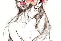 ragazza e fiori