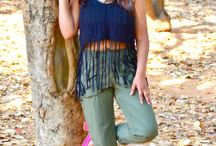 Black fringe top with cropped pant