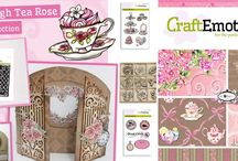CraftEmotions High Tea Rose / A collection matching products for cardmaking, mixed media and more. Available products: decorated paperstack, clearstamps, masks, wooden ornaments
