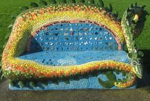 Mosaic statues, benches...