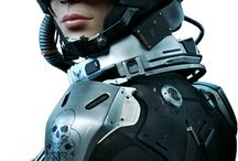 05 Female Futuristic Fightsuit / Futuristic Space Female Combat Suit