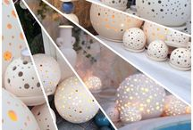 Sparkling Sphere / Outdoor/ Indoor Sparking Ceramic Sphere Dêcó-Candle. Hand-made, unic and longlasting white (outside)