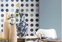 woonkamer blauwe muur