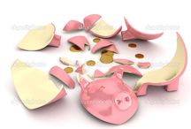 Broken piggy. Alcancía rota. Cerdito. Porky.Ahorro. / Broken piggy. Imágenes relacionadas con romper la alcancía.