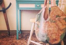 Annie Sloan World Map fabric / Restyled vintage chair...painted in Versailles by Annie Sloan