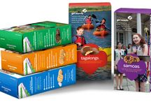 Girl Scouts--Upcycle Cookie Boxes / Ways to upcycle your Girl Scout cookie boxes when you're finished with all the delicious cookies! (This was done as a take action project by my Junior Scouts earning their Get Moving Journey).