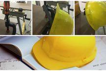 capacete de obra / capacete de obra ideia criativa para pendurar na mesa segurança
