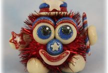 FuzzyKims 4th of July / Cute Collectible Whimsical Polymer Clay FuzzyKims that come in a handmade gift box along with an adoption certificate. These are available on my website. Visit my website at: http://www.kimmiesclaykreations.com  FuzzyKims©, are COPYRIGHTED by Kimmie's Clay Kreations®, 2017. All images, rights, colors, designs, concept, and intellectual property belong solely to the owner of Kimmie's Clay Kreations.