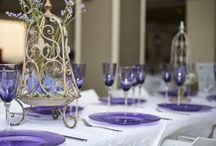 Purple Table Decor / Purple Whine, Champagne and Plate set