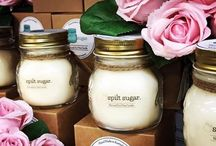 Spilt Sugar Candles / , deliciously scented all natural soy wax candles, poured into Vintage Rustic Jars, Travel Tins & Clear Tea Lights. #SpiltSugar