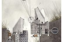 architectural drawing and collage