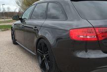 My car / Audi A4 2.0tfsi quattro lavagrey pearl. 20 inch black rs6 wheels. H&R springs