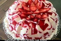 gelatina de las tres leches con fresas