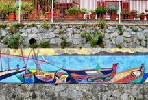 """Furore: Paese dipinto! Painted village! / So it's called its entering in the """"Associaizone Italiana Paesi Dipinti"""" (Italian Association of Painted Villages), #Furore has a really living art path through the s.s. 366 (state road) that can bring you from #Amalfi to #Agerola. In fact running this road across the village it's possible to see the murales made of fresco paintings on the house's walls or on the cultivation terraces"""