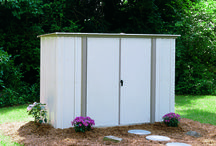 Arrow Garden Shed  - GS83 / The Garden Shed offer an 8' wide by 3' deep footprint, slope roof to stop water from pooling and has two swing doors for easy access.  This shed comes with 2 shelves and a tool hanging rack for increased storage.