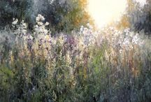 obraz olejny łąka