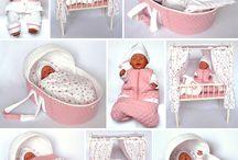 Tyg virkat stickat baby born docka