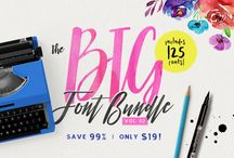 The Big Font Bundle Vol. 2 (99% OFF) / Our super popular Big Font Bundle series is finally back with its second installment! With a whopping 125 different fonts from 88 font families, this collection is definitely a must-have! Just think about it, that's only 15¢ per font!!  There are also tonnes of extra graphics, patterns, swashes, textures, logos and mock-ups, all included in this incredibly low price!