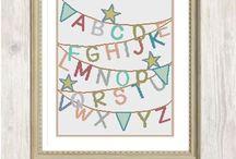 Modern Alphabet Cross Stitch Kits / All kits by www.caterpillarcrossstitch.com