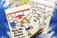 Printable Coloring Books for Kids / ABC alphabet coloring books for baby showers or gifts in English and Spanish. And an airplane coloring book for children.