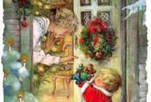 Vintage Xmas Prints and world stamps / Beautiful Xmas prints and postage stamps