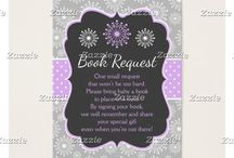A Special Little Snowflake Purple Baby Shower / This collection features purple and white snowflakes on a chalkboard frame. The background consists of white snowflakes on gray and a purple and white polka dot ribbon.