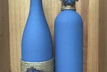 garrafas pintadas por dentro