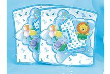 Cumpleaños de 1 año en azul / Vajillas desechables, guirnaldas, decoración, adornos para la fiesta de cumpleaños de 1 año en tonos azules